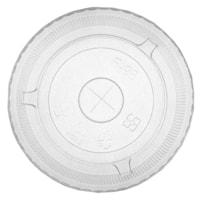 Couvercles plats compostables en PLA Eco Guardian avec trou pour paille, transparent, emb. de 50