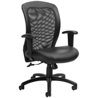 Global Mid-Back Centre-Tilt Chair, Black Leather Seat and Mesh Back