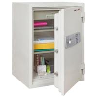 Coffre-fort ignifuge 1 1/2 heure FireKing, blanc arctique, 1 tiroir et 2 tablettes