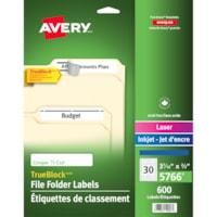 Étiquettes de classement avec technologie TrueBlock Avery