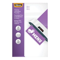 Fellowes Menu-Size Thermal Laminating Pouches, 3 mil, Pack of 50