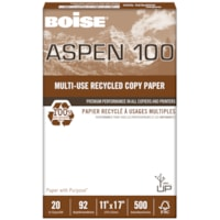 Boise Aspen 100 Multi-Use Premium Recycled Paper, White, 20 lb., Tabloid-size, Ream