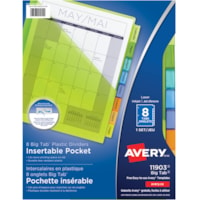 Avery Big Tab Pocket Insertable Plastic Dividers, White with Translucent Coloured Tabs, Letter-Size, 8-Tabs/ST, 1-Set/PK