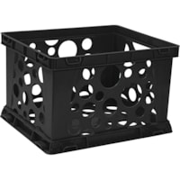 Storex Premium File Crate, Black, 42 L, Letter and Legal Size