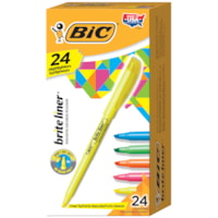 BIC Brite Liner Highlighters, Assorted Colours, Chisel Tip, 24/BX