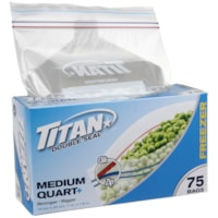 Titan Double Seal Freezer Bags, Clear, Medium, 75 Bags/PK