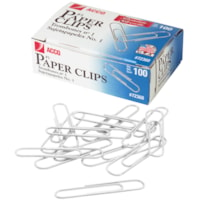 Acco Paper Clips, #1, Heavy-Gauge Wire, Smooth Finish, Silver, 100/PK