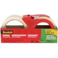 Scotch Tough Grip Moving and Packaging Tape with Dispenser, 48 mm x 50 m, 2 Rolls/PK