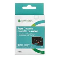 Grand & Toy Sign TZe Black Type On White Label Tape Cassette, 6 mm (1/4