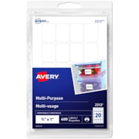 Avery 2313 Multi-Use Removable Print- and Write-On Labels, White, 3/4
