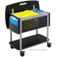 Safco Scoot Mobile File Cart with Top Work Surface, Black/Silver, 29 3/4
