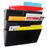 Storex Snap and Stack Wall File Pockets, Black, Legal-Size, 3/PK