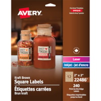 Avery 22486 Print-to-the-Edge Permanent Square Labels, Kraft Brown, 2
