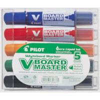 Pilot BeGreen V Board Master Whiteboard Markers, Assorted Colours, Bullet Tip, 5/Pk
