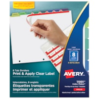 Intercalaires à étiquettes transparentes Easy Apply Index Maker pour imprimante laser Avery