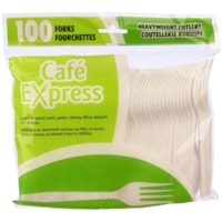 Café Express Heavyweight Plastic Utensils/Cutlery, Forks, White, 100/PK