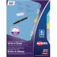Avery Big Tab Write & Erase Plastic Dividers, Multi-Coloured, Letter-Size, 8-Tabs/ST, 1-Set/PK