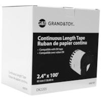 Ruban d'étiquettes continu Grand & Toy, impression noir sur blanc, 2 2/5 po x 100 pi, boîte de 1