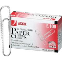 Acco Paper Clips, #1, Corrugated Finish, Silver, 100/PK