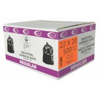 Eco II Manufacturing Inc. Sacs à ordures industriels, noir, 22 po x 20 po, résistance régulière, caisse de 500