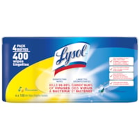 Lysol Disinfecting Wipes, Citrus And Spring Waterfall Scent, 100 Wipes, 4/PK