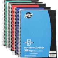 Cahier de notes 5 sujets à reliure spirale Hilroy, couleurs variées (aucun choix de couleurs offert pour les commandes sur livraison), 10 1/2 po x 8 po, 360 pages
