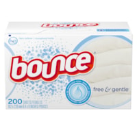 Bounce Free and Gentle Fabric Softener Dryer Sheets, Scent-Free, 200 Sheets/BX