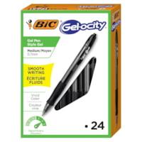 Stylos à encre gel à pointe rétractable Gel-ocity BIC, noir, pointe moyenne de 0,7 mm, boîte de 24