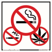 Safety Media No Smoking, No Vaping and No Marijuana Plastic Sign, White, 4