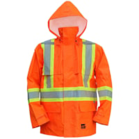Open Road High-Visibility 150D Large Bright Orange Safety Rain Jacket