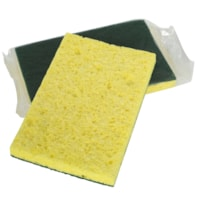 Globe Commercial Products Heavy-Duty Cellulose Scrub Sponge, Green/Yellow, 4