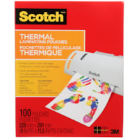 Scotch Thermal Laminating Pouches, Clear, 3 Mil, Letter Size, 100/PK