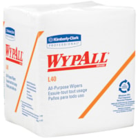 WypAll L40 White 1/4-Fold All-Purpose Disposable Cleaning and Drying Wipers, White, 12 1/2