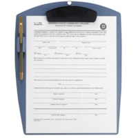 Storex Clipboard with Pen Holder, Blue, Letter Size