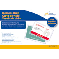 Royal Sovereign Self-Sealing Business Card Size Laminating Pouches, 11 mil, Pack of 5