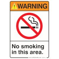 Safety Media Safety Warning Sticker, No Smoking Warning, 7