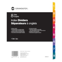 Grand & Toy Index Dividers, Numbered 1-8, 8 1/2