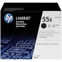 HP 55X Black High Yield Toner Cartridges, 2/PK (CE255XD)
