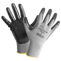 Ronco Flexsor Nitrile Palm Coated Gloves, Large, Grey/Yellow Wrist, 12 Pairs/PK