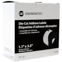 Grand & Toy DK Die-Cut Labels, Address, Black on White, 1 1/10