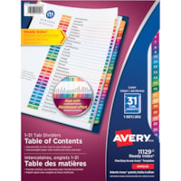 Avery Ready Index Customizable Table of Contents Dividers, White with Multi-Coloured Tabs, Numbered (1-31), Letter-Size, 31 Tabs/ST, 1 Set/PK