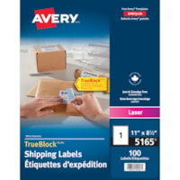 Avery 5165 Large Shipping Labels with TrueBlock Technology, White, 8 1/2