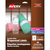 Étiquettes enveloppantes durables blanches à adhésif permanent 9 3/4 po x 1 1/4 po Avery