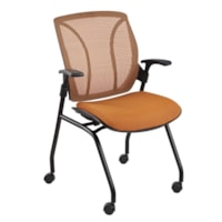 Global Roma Mid-Back Nesting Armchair with Casters, Orange, Match Fabric/Mesh Back