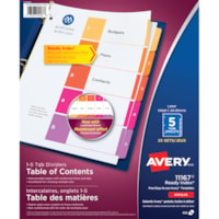 Avery Ready Index Customizable Table of Contents Dividers, Multi-Coloured, Numbered (1-5), Uncollated, Letter-Size, 5 Tabs/ST, 25 Sets/BX