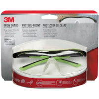 3M Brow Guard Safety Glasses, Black and Green Frame/Clear Lens