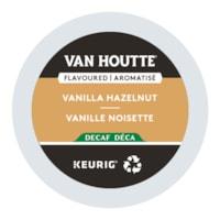 Van Houtte Single-Serve Coffee K-Cup Pods, Vanilla Hazelnut Decaf Flavoured, 24/BX