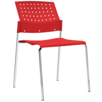 Global Sonic Armless Stacking Chairs, Scarlet Red Polypropylene Seat/Back, 2/PK