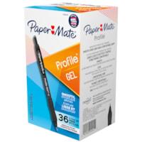 Stylos à encre gel à pointe rétractable Profile Paper Mate, noir, pointe moyenne de 0,7 mm, boîte de 36