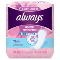 Always Thin Daily Liners, Regular, Unscented, Individually Wrapped, 20/PK